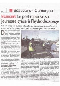 Article dans Midi Libre sur le décapage du port de Beaucaire