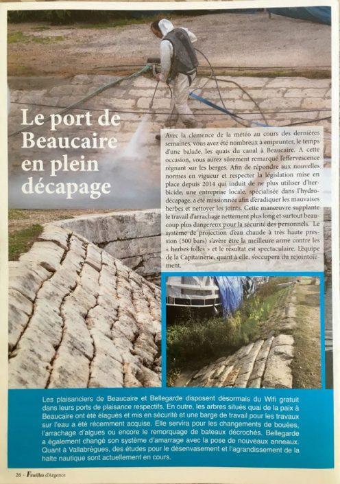 Article sur le décapage du port de Beaucaire